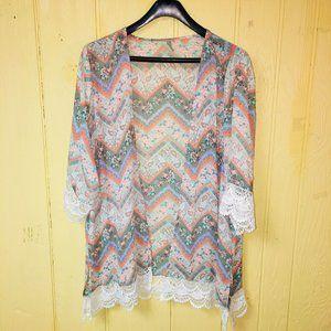 Maurices (Vanity) 20W 22W Crochet Trim Kimono TOP
